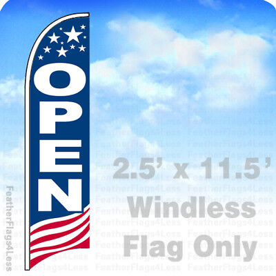 OPEN - Windless Swooper Feather Flag 2.5x11.5' Banner Sign - USA -