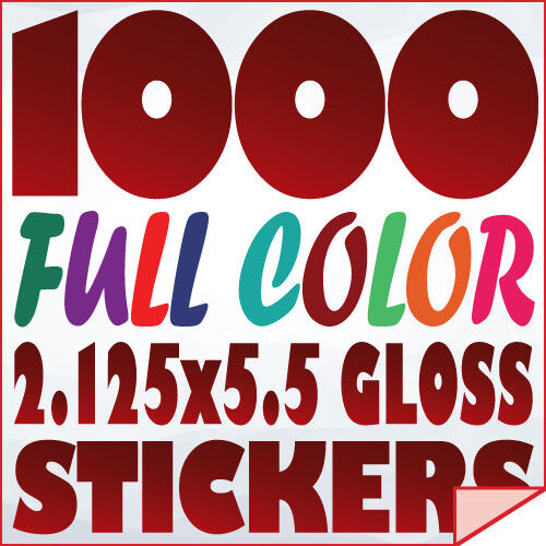 1000 Full Color Custom 2.125x5.5 STICKERS on 70Lb Label Printing with UV Gloss