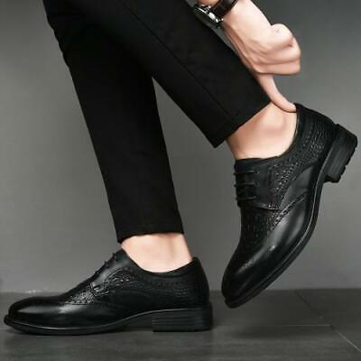 Details about  /Mens Brogue Carved Work Oxfords Pointy Toe Slip on Dress Formal Business Shoes L