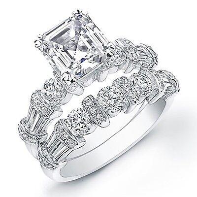 3.04 Ct. Asscher Cut Diamond Engagement Bridal Set GIA