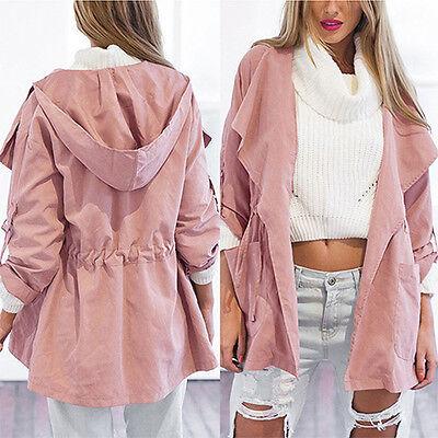 Pink Windbreaker Women Warm Hooded Parka Jacket Long Coat Trench Outwear Fashion
