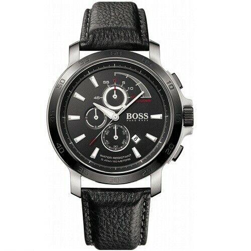 Hugo Boss 1512394 Black Leather Black Dial Stainless Steel M