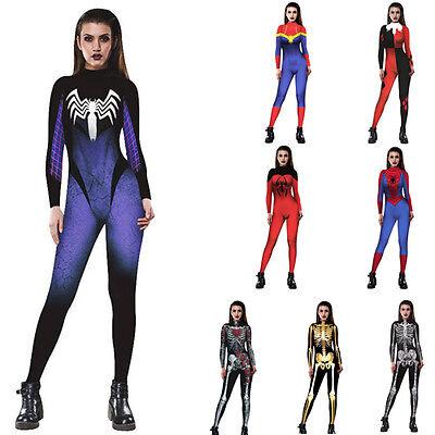 Womens Halloween Cosplay Costume Jump Suit Zentai Spandex Fancy Skeleton Catsuit (Womens Skeleton Suit)