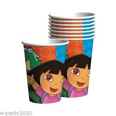 DORA THE EXPLORER Party 9oz PAPER CUPS (8) ~ Birthday Supplies Boots Tico Drink Dora 9 Oz Cups