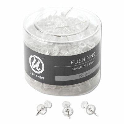 U Brands Standard Push Pins Plastic Clear 716 200pack
