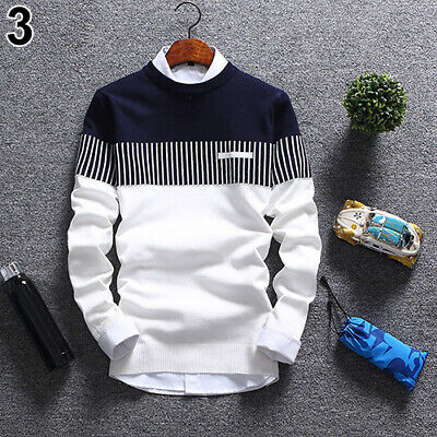 MEN'S FASHION CASUAL STRIP COLOR BLOCK KNITWEAR JUMPER PULLOVER SWEATER UK STOCK