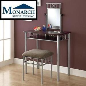 NEW* MONARCH VANITY SET MONARCH SPECIALTIES FURNITURE Cappuccino/Silver Metal, 110059648