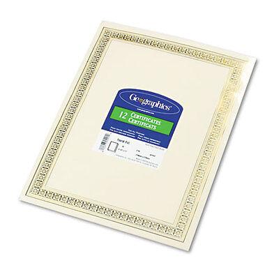 Geographics Foil Enhanced Certificates, 8-1/2 x 11, Gold Flourish Border