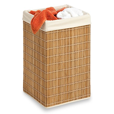 Laundry Hamper Bamboo Square Wicker Clothes Bin Basket Tall