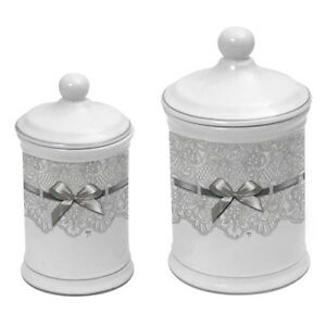 Set de 2 pot coton porcelaine d cor dentelle salle de for Pot a coton salle de bain