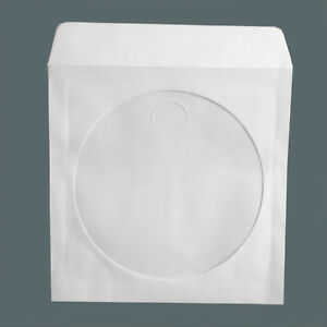 50 new paper cd dvd sleeves white with window flap for 100 paper cd sleeves with window flap