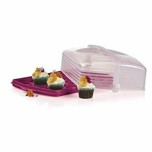 "NEW TUPPERWARE RECTANGULAR CAKE TAKER KEEPER HOLDS 18 CUPCAKES 17"" X 11 1/4"" X 6"