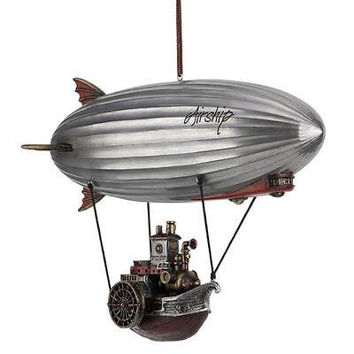 "11"" Steampunk Airship With Steamship Gondola Home Decor Statue Fantasy Figure"
