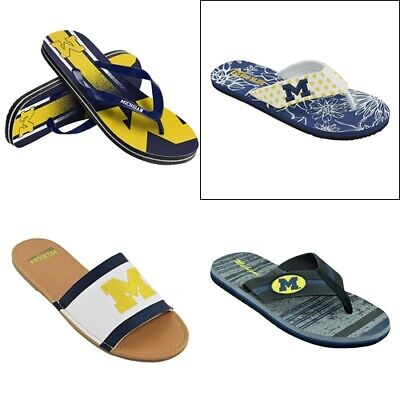 Flip-flops and sandals for the Michigan Wolverines Fans. Men