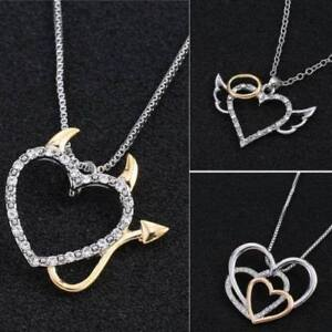 Brand New Heart Angel Or Heart Devil Crystal Rhinestone Necklace