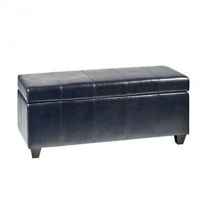 Black Faux Leather Storage Ottoman London Ontario image 1