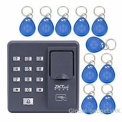 ZKTeco Fingerprint+RFID Card Access Control Keypad Password Keypad+10 RFID fobs