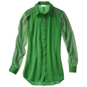 3.1 PHILLIP LIM x TARGET Kelly Green Chiffon BLOUSE Top, Sixe S London Ontario image 2