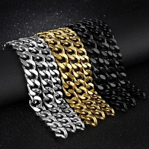 Jewellery - Men's Fashion 316L Stainless Steel Bracelet Curb Lock Link Bracelet Chain Bangle