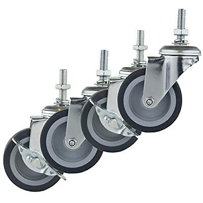Caster Wheels Casters Set Of 4 3 Inch Rubber Heavy Duty Threaded.