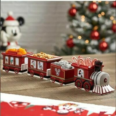 Disney Mickey & Friends Holiday Train Bowl Set Ceramic Appetizer Christmas New