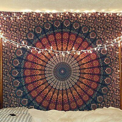 Navy Blue Brown Queen Mandala Tapestry Cotton Bedspread Throw Wall Hanging - Brown Tapestry