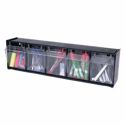 Deflect-o Tilt Bin Plastic Storage System With 5 Bins Black Def20504op