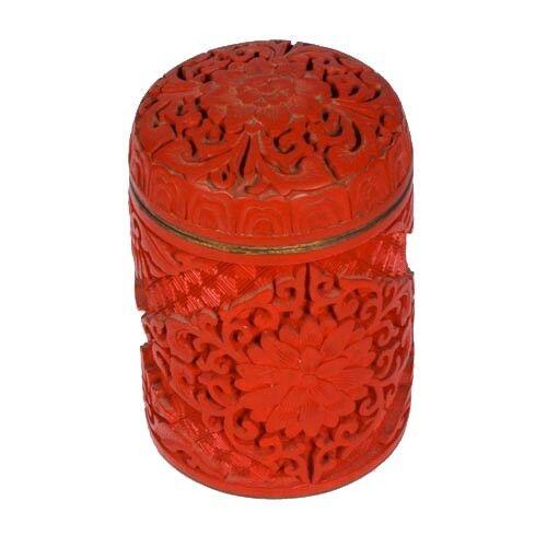 Chinese Antique Tall Cylindrical Cinnabar Trinket Box