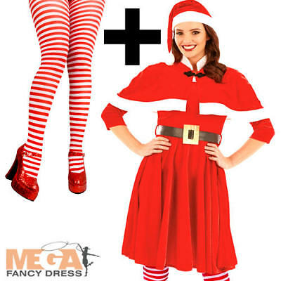 Lady Santa Claus + Tights Ladies Fancy Dress Mrs Claus Adults Christmas Costume