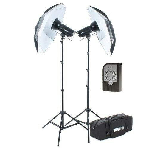 "StudioPRO 2x 400W Monolight Strobe Flash Lighting Light Kit 33"" Umbrella Trigger"