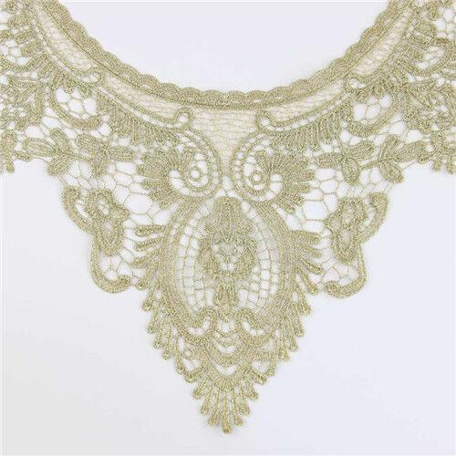 Vintage Cotton Floral Collar Neckline Lace Sewing Trim Venise Applique