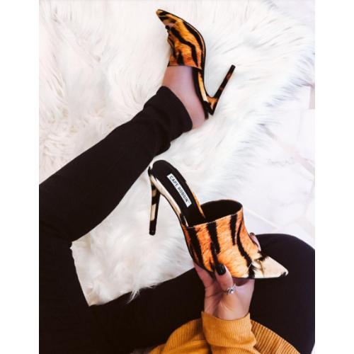 Cape Robbin JUNGLE Faux Tiger Print Slip-On Mules Pointy Open Toe Stiletto Heel