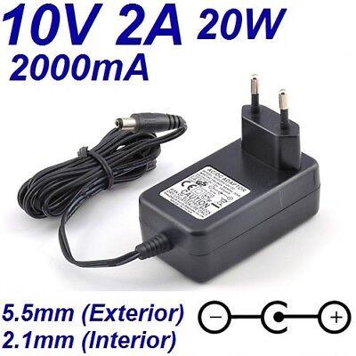 Cargador Corriente 10V 2A 2000mA 5.5mm 2.1mm 20W Cable Alimentacion Alimentador