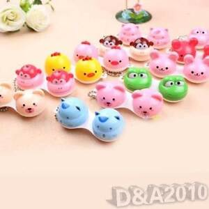 Lovely Cartoon Happy Animal Eye Contact Lens Case Box Container Color Random