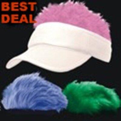 WHITE Spiked Flair Hair VISOR Fake Hat Wig Cap 3 PC - Hair Visors