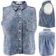 Womens Sleeveless Denim Shirt
