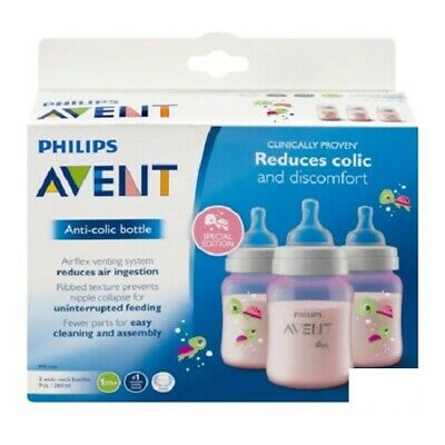 Philips Avent Anti Colic Bottle BPA Free, 3 Wide Neck Bottles, 9 Oz Colors Vary