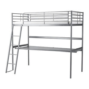 Loft Bed Frame with Desk Top, Silver color