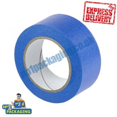 48 X  BLUE 48MM X 50M UV RESISTANT FINELINE BODYSHOP  PAINTERS MASKING TAPE