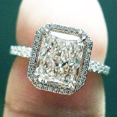 1.50 Ct Radiant Cut Diamond Halo Engagement Ring Pave U-Setting GIA H, VS1 14k