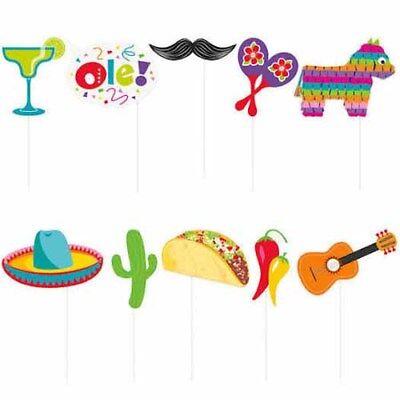 MEXICAN FIESTA PHOTO PROP SET (10pc) ~ Birthday Party Supplies Favor Decoration - Fiesta Birthday Party