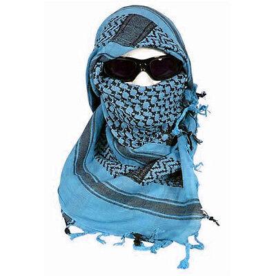 Blue & Black Shemagh Tactical Desert Keffiyeh Arab Heavyweight Scarf