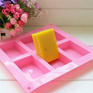 6-cavity Plain Basic Rectangle Silicone Mould for Homemade Craft Soap Mold - LD