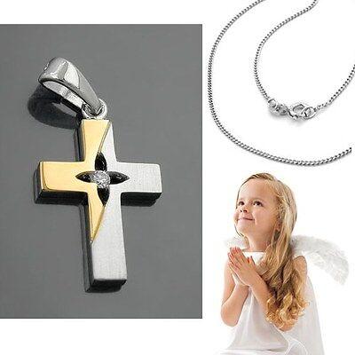 Kinder Taufe Kommunion † Konfirmation bicolor Kreuz Anhänger Silber 925 & Kette