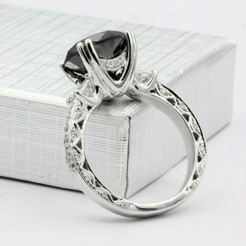 2Ct Round Black Diamond Solitaire Women's Engagement Ring 14K White Gold Finish