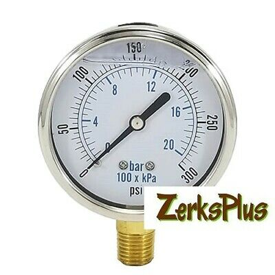Liquid Filled 2-12 Pressure Guage Stainless Case Lower Mount 0-300psi