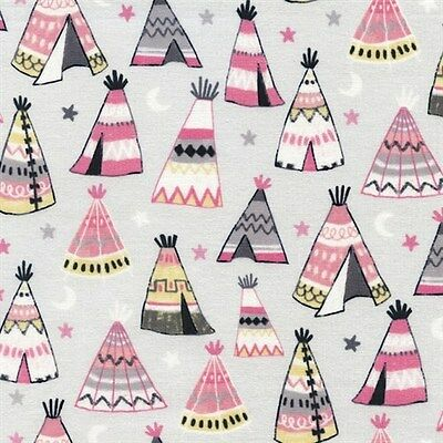 Ткань Teepees Pink and Grey Indian
