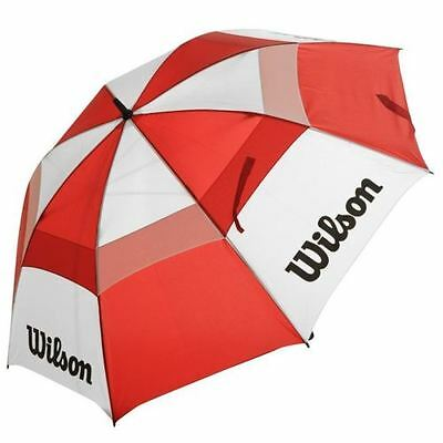 "Wilson 62"" Inch Dual Canopy Storm Proof Golf Umbrella (Red/White)"