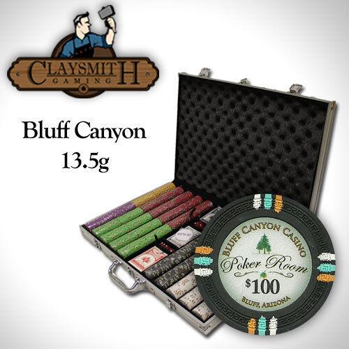 NEW 1000 Bluff Canyon 13.5 Gram Clay Poker Chips Set Aluminum Case Custom