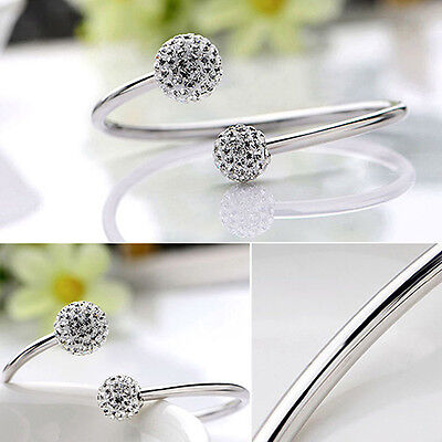 New Women's Fashion Jewelry Silver Plated Cuff Bangle Bracelet 30-4